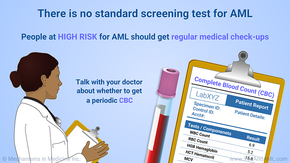 There is no standard screening test for AML